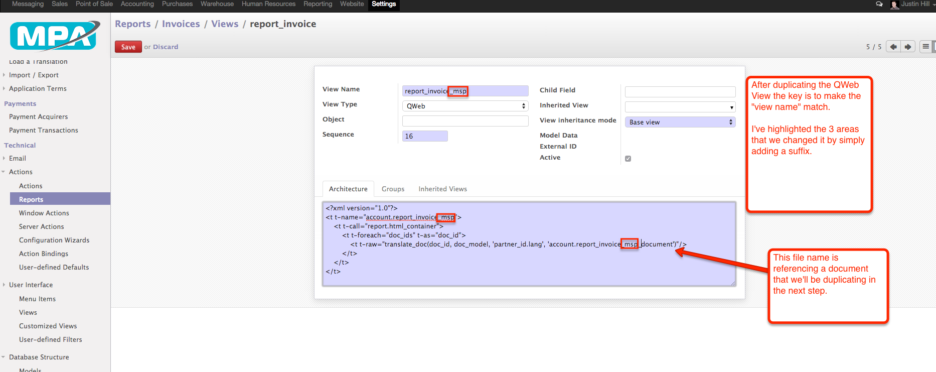 08 - Duplicate report_invoice - settings